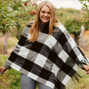 White Check Button Poncho